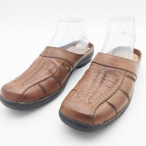 Life Stride Woven Leather Slip On Mules SH22